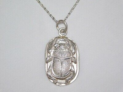 """925 Stamped Solid Silver Egyptian 3D Scarab Beetle Pendant with 18"""" Chain 03"""