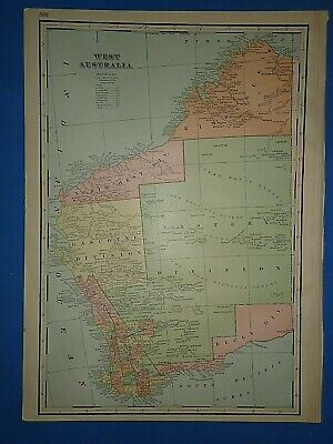 Vintage Circa 1898 WEST AUSTRALIA MAP Antique Original Folio Size Atlas Map