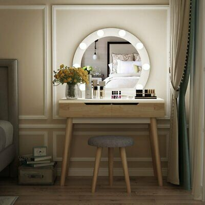 Wooden Vanity Desk Mirrored Makeup Dressing Table With 6 Led Light