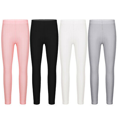 Girls Leggings Pants Kids Solid Color Stretch Seamless Casual Soft Long Trousers