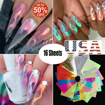 16Pcs Holographic Fire Flame Hollow Sticker Fire Nail Art Manicure Sticker USA P