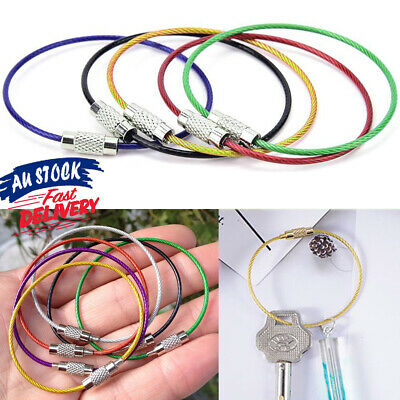 5pcs Cable For Outdoor Hiking Stainless Steel Keychain Sports Key Ring Wire Rope