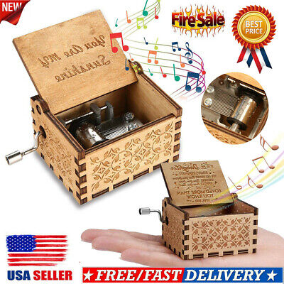 USA Retro Wooden Engraved Hand Crank Music Box Toys Kids Birthday Gifts Xmas