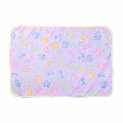 Pet Flannel Bone Print Doggy Cat Bed Cushion Soft Warm Mat Dog Blanket Purple