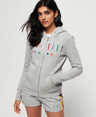 SUPERDRY WOMENS CARLY Carnival Embroidered Zip Hoodie EUR