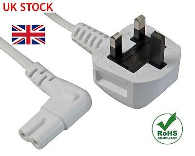 2M Right Angle Figure Of 8 Mains Cable / Power Uk Lead Plug Cord Iec C7 White