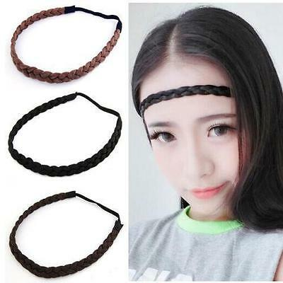 Ladies Braided Synthetic Hair Plaited Plait Elastic Headband Hairband  J