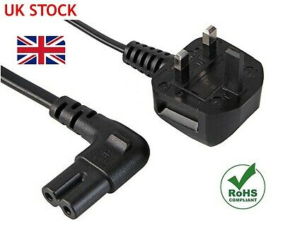 3M Right Angle Figure Of 8 Mains Cable / Power Uk Lead Plug Cord Fig Iec C7