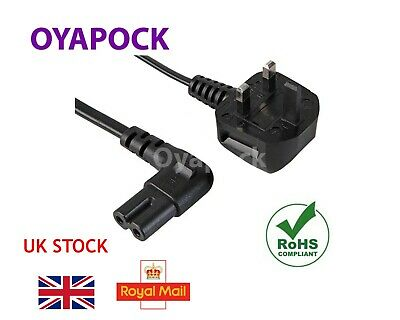 2M Right Angle Figure Of 8 Mains Cable / Power Uk Lead Plug Cord Fig Iec C7