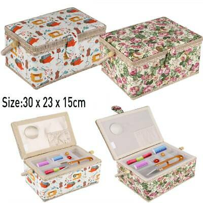 Fabulous Quality Fabric Floral Printed Sewing Box Basket Shelves Storage Craft