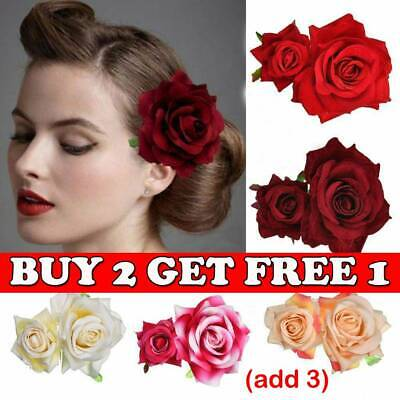 CHIC Bridal Rose Flower Hair Clip Double Rose Hairpin Brooch Wedding Accessory O