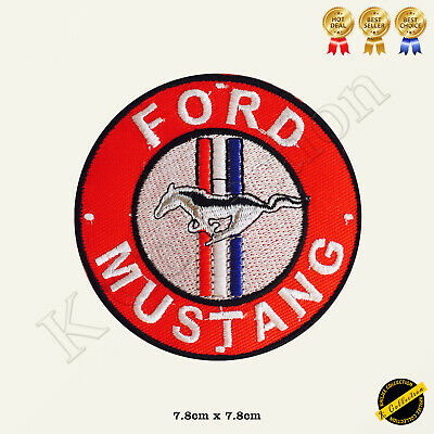 Ford Mustang Logo Racing Sponsor Car Band Embroidered Iron On/Sew On Patch Badge