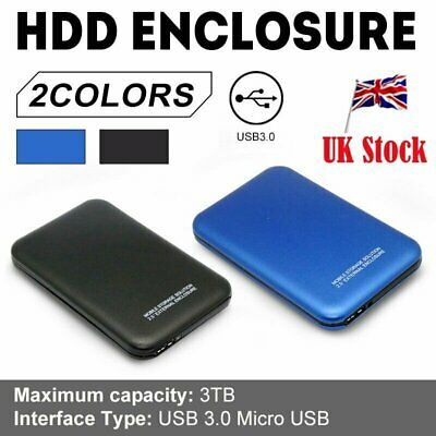 "3TB Portable External Hard Drive Case Disk Storage USB 3.0 2.5""for PC/Laptop UK"