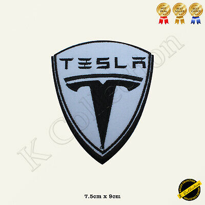 Tesla Car Brand Logo Racing Sponsor Embroidered Iron On/Sew On Patch Badge