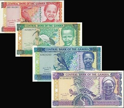 Gambia Dalasis / 4 Notes - Full 1996 Sign 11 Set / All UNC