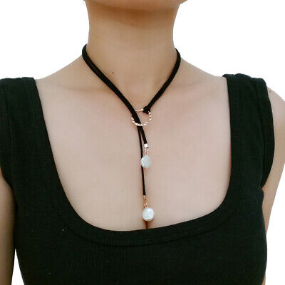 Long Leather Cord Choker Necklace Set Pearl Dangle Drop Earrings for Women Girls