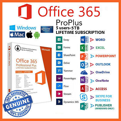 Instant Microsoft Office 365 2016 2019 Pro Plus Lifetime 5 Devices 5TB PC/Mac