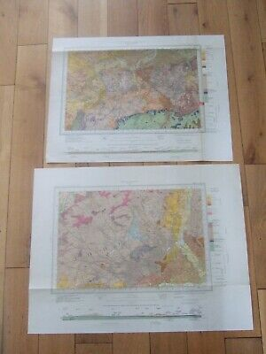 Pair of vintage original Geological wall maps North and South London 1950's