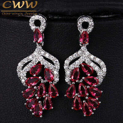 CWWZircons CZ Micro Pave Red Crystal Big Dangle Flower Earrings for Wedding