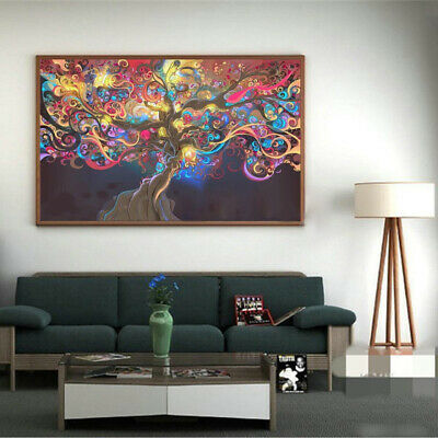 Psychedelic Trippy Tree Abstract Art Silk Cloth Poster Home Wall Decor 50x33 Cm