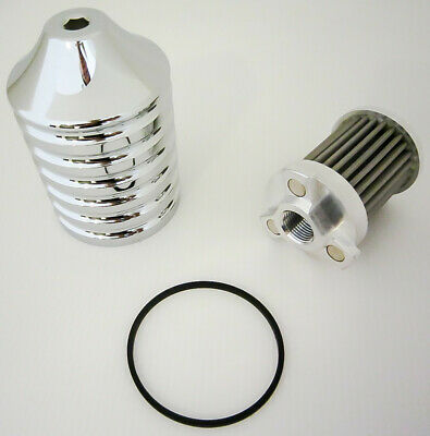 Harddrive billet reusable oil filter chrome _EM-0018