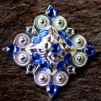 4 Conchos Rhinestone Horse Saddle Western Rodeo Bridle Berry Clear CO45