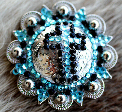 4 Conchos Rhinestone Horse Saddle Western Bridle Berry Turquoise Co389