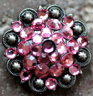 4 Conchos Crystals Rhinestones Bling Horse Saddle Tack Western Berry Pink CO121