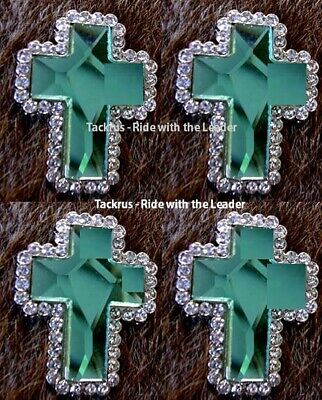 4 Cross Conchos Rhinestone Horse Saddle Western Bridle Tack Rodeo Emerald Co408