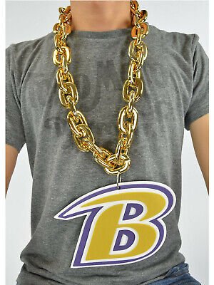 New NFL Baltimore Ravens GOLD Fan Chain Necklace Foam Magnet - 2 in 1