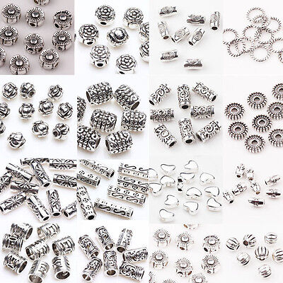 Lots 50/100Pcs Tibetan Silver Metal Charm Loose Spacer Beads Jewelry Findings