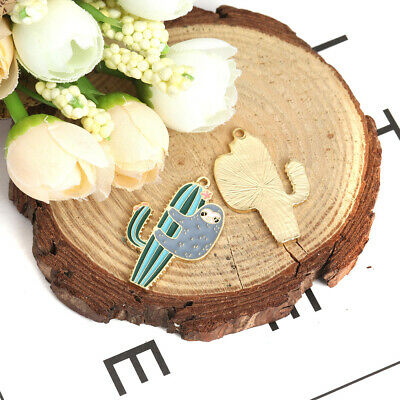5Pcs Cartoon Enamel Cactus Plant Sloths Charm Pendant Jewelry Making Accessories