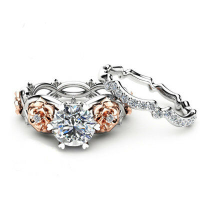 Womens Classy Stainless Steel Princess Cut Wedding Engagement Ring Set