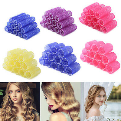 12pc 15-44mm Self Grip Hair Rollers Cling Any Size DIY Hairdressing Hair Curlers