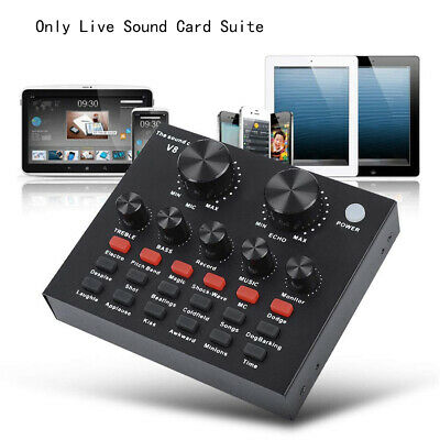 V8 Audio Microphone USB Headset Webcast Live Sound Card for PC Phone Computer