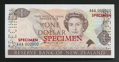 New Zealand: 1981 $1 Hardie SPECIMEN,  Type II, UNC, AAA 000000, VERY RARE