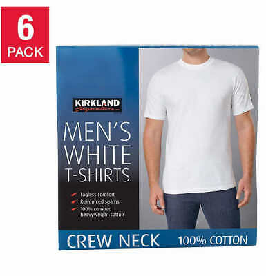 Kirkland Signature Men's Crew Neck Tees, 6 pack - WHITE (Select Size)