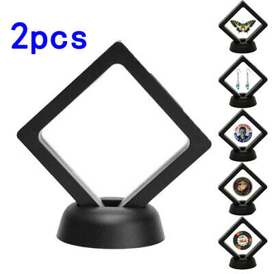 Black Coin Frame Plastic 3D Floating Display Holder Box Stand Protection
