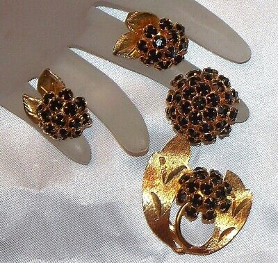 Vintage Estate High End Black Prong Rhinestone Flower Cluster Brooch & Earrings