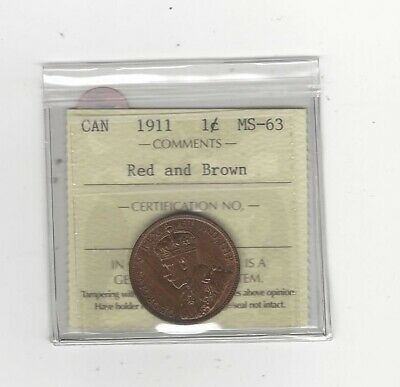 1911 ,ICCS Graded Canadian, Large One Cent, **MS-63**