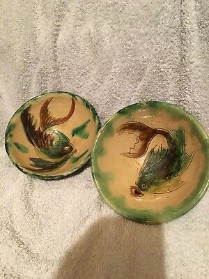 Pair, Oriental, Clay Fish Bowls, Hand Painted.