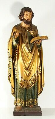 antique 19th C Apostle, Saint, Evangelist carved wooden gilded statue 72cm/28.7""