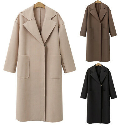 UK Womens Winter Long Coats Ladies Lapel Wool Jacket Warm Trench Coat Outwear
