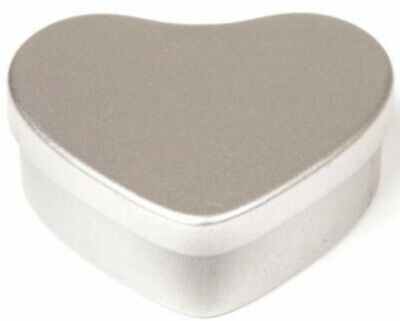 10 silver coloured love heart candle making tins. 50ml