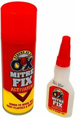 1x Strong Mitre Fix with Activator Fast Bond Adhesive Cyanoacrylate Multipurpose