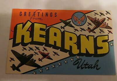 vintage Greetings From Kearns Utah postcard WW2 ERA Military