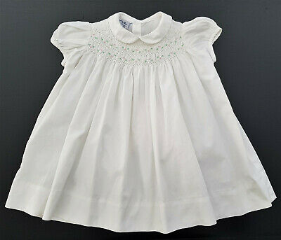 POLLY FLINDERS (USA) VINTAGE 1970's SMOCKED BABY DRESS, WHITE - EXCELLENT COND