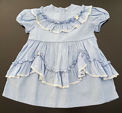 VINTAGE 1950's FRILLY COTTON DRESS FOR BABY GIRLS (or REBORN DOLL'S) BLUE, WHITE