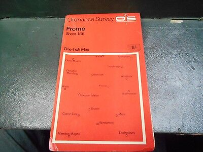 "vintage one inch paper O/S map sheet 166 ""Frome"""