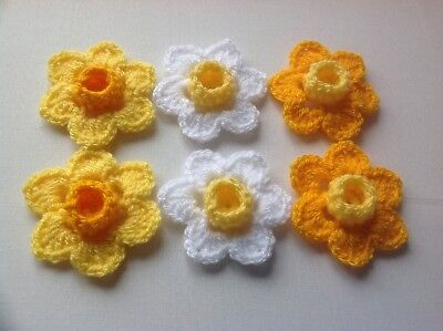 6xNew Crochet Spring Flowers Applique Embellishment -Daffodils(Yellow/White)